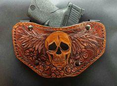 Skull wings floral custom leather OWB gun holster by pinkpistolholsters.com