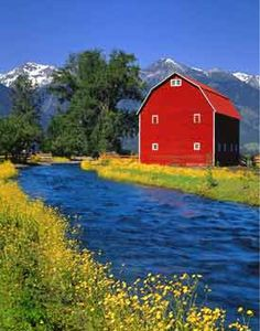 Wallowa River Valley Red Barn Farm Northeastern Oregon USA