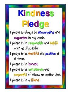 I was very sick of the unkindness I was seeing in my classroom when I created this. I printed on cardstock, laminated, and posted in several place. Kindness For Kids, Teaching Kindness, Kindness Activities, Bullying Activities, Kindness Ideas, Kindness Projects, Teaching Activities, Classroom Behavior, Classroom Management