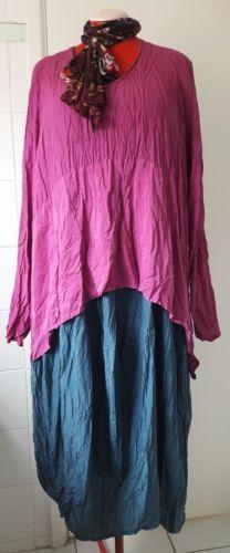 Privatsachen-top-silk-crinkle-Sz-2-or-3-UK-20-RRP-189-Lagenlook-overlay-arty
