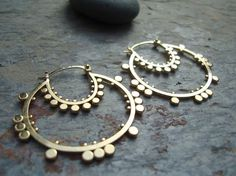 Double Sunflower Hoops Gold Plated