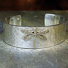 Dragonfly Cuff Bracelet in Hammered Sterling by LavenderCottage