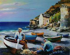 Sevim çakar Boat Painting, Artist Painting, Watercolor Paintings, Mediterranean Paintings, Sea Pictures, Sad Drawings, Image Nature, Guache, Z Arts