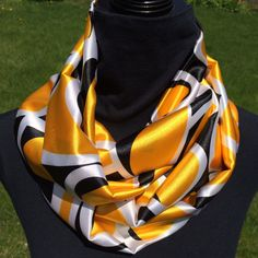 Yellow and Black Infinity Scarf loop scarf circle by SissyandTodo