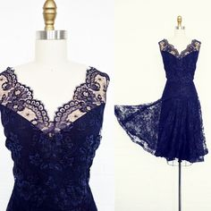 vintage 1940's sapphire lace party dress. Positively stunning vintage 1940's sapphire blue lace party dress with a fetching 20's silhouette. Nude organza-lined illusion lace neckline, scalloped lace waist overlay, subtly flared skirt. Full rayon lining, side metal zipper. Exquisitely constructed.    Bitter Root Vintage