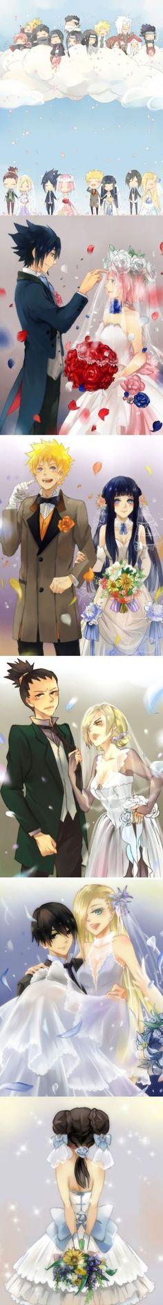 NARUTO SHIPPUDEN, Naruto/Hinata, Sasuke/Sakura, Shikamaru/Temari, Sai/Ino, Wedding