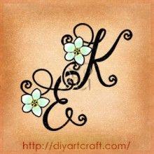 Monogramma EK frangipane idea tattoo diyartcraft.com