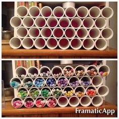 With pvc pipe and a hot glue gun art supplies storage, craft room storage, Toilet Paper Roll Holder, Toilet Paper Storage, Craft Room Storage, Craft Organization, Craft Rooms, Rangement Art, Marker Storage, Cord Storage, Art Supplies Storage
