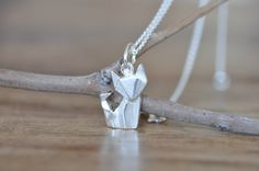 Origami Fox Necklace in Sterling Silver 925 Gold par JamberJewels