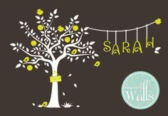 Nursery Wall Decals Cute Garden Tree with Custom Name, Tree Decal, birds Decal, Bird House Decal, Kids room on Etsy, $110.00