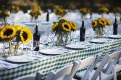 Rehearsal dinner table #rehearsaldinner #sunflowercenterpieces