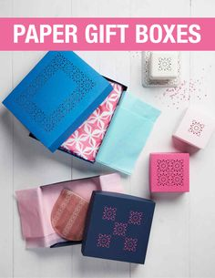 How to Make a Paper Gift Box with a Few Easy Folds | Martha Stewart Living - Have a gift in need of packaging? Assembling a one-of-a-kind gift box is easy as 1-2-3-4! Master our punch-and-fold technique, and you can make them in all shapes and sizes for birthdays, holidays, and special occasions all year-long.