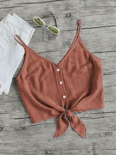 Shop Button Up Knot Cami Top online. SheIn offers Button Up Knot Cami Top & more to fit your fashionable needs. Crop Top Outfits, Cute Casual Outfits, Summer Outfits, Cami Top Outfit, Stylish Outfits, Men Casual, Cute Crop Tops, Cami Tops, Teen Fashion Outfits