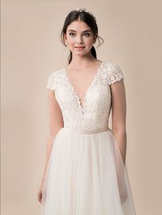 8f8458593252 Moonlight Style T790 - luxurious tulle with lace appliques and short sleeve  wedding dress. Figure