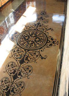 lotus design, stenciled concrete floors - Google Search