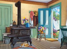 Pot Belly Stove Kitchen Illustration Cat - John Sloane