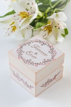 """Ring Box """"Forever&Ever""""  Size 6х6см, height 5.5 cm  Natural wood"""