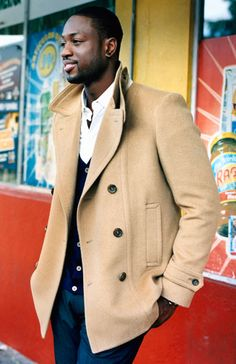 Dwyane Wade rocking a tan peacoat - Esquire