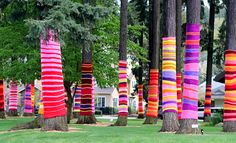 Yarn bombed trees. Modern Parents Messy Kids: Yarn Bombing!