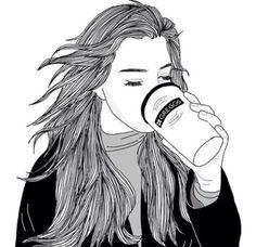 noir et blanc, café, dessin, suivre, fille