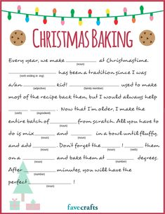 Looking for a Christmas Mad Libs printable that you can do with the family this holiday? This baking-themed option is an adorable, fun game to play! Holiday Games, Christmas Party Games, Christmas Activities, Christmas Printables, Christmas Traditions, Holiday Fun, Christmas Cooking Games, Xmas Games, Christmas Trivia