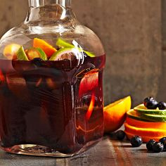 This tart sangria mixes the flavors of blueberries and cranberry juice. More fruity sangria recipes: http://www.bhg.com/recipes/drinks/wine-cocktails/sangria-recipes/?socsrc=bhgpin052713berrycrangria=4