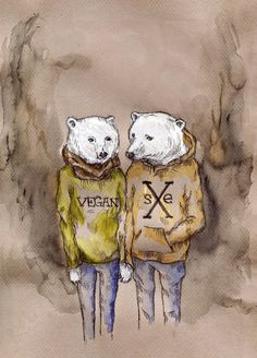 straight edge polar bears. would love to know who did this! so cute.