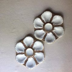 Pair of Antique French Porcelain Oyster Plates Limoges Style