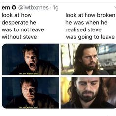 I like Captain America, but I fucking Steve for doing this to him. I mean,Bucky … Crochets – Crochet models Marvel Dc, Disney Marvel, Marvel Comics, Marvel Heroes, Marvel Jokes, Avengers Memes, Marvel Funny, Sebastian Stan Tumblr, Sebastian Stan Photoshoot