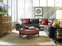 New Holbrook Motion Sectional from Thomasville love it! I just ordered this in brown! Sectional Sofa Decor, Leather Sectional Sofas, Couches, Thomasville Furniture, Sofa Price, Best Sofa, Living Room Inspiration, Living Spaces, Living Rooms