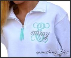 Personalized Sweatshirt with Large Initial and Name embroidery - Ribbon Quarter Zipper Pull - Customized CADET collar Bridesmaids sweatshirt
