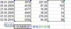 Excel mehrere Bereiche summieren
