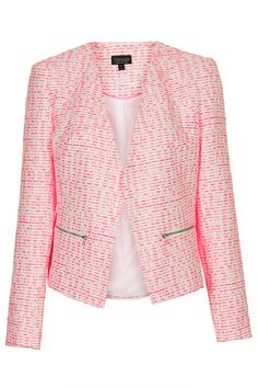 Pink Boucle Zip Blazer (perfect for summer nights) Pink Tweed Jacket, Boucle Jacket, Blazer Jacket, Collarless Jacket, Tailored Jacket, Elegant, Autumn Winter Fashion, Topshop, Collection