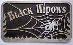 Black Widows plaque hot rod drag race car club Kustom Kulture metal spider