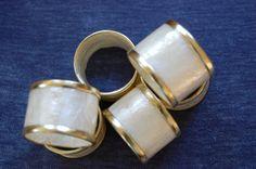 Set of 6 Vintage Capiz Shell Napkin Rings by PursuingVintage1
