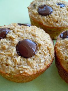 Baked Oatmeal Cups To-Go! Just made these & I was worried they'd be bland so I added choco chips into batter then took half the batter and added some coconut & a little coconut on top w/the choco chip (Chocolate Banana Applesauce)