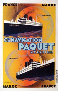 """bateau - Cie de Navigation Paquet - Marseille - illustration de Max Ponty - Paquebots """"Maréchal Lyautey"""" et """"Nicolas Paquet"""" -  France - Maroc- Marseille - Casablanca -"""