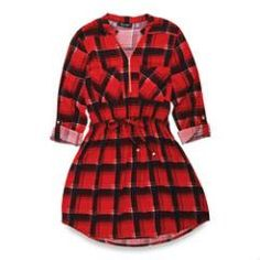 lily morgan Women's Plaid Shirt Dress