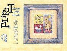 Lizzie Kate Woof Dog Flip It with Heart Charm Cross Stitch Chart Quick Stitch | eBay