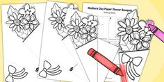 * NEW * Mother\'s Day Paper Flower Bouquet Colouring Activity