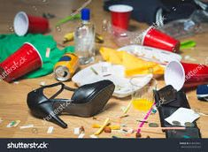Terrible mess after party. Trash, bottles, food, cups and clothes on the floor. Messy apartment after guests leaving or the next morning. Horrible chaos after crazy wild night. Trading Desk, Party Hard, Stock Broker, Money Laundering, Under Pressure, How To Make Money, Cops, Screens, Fig