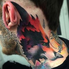 fox tattoo on the side of the neck