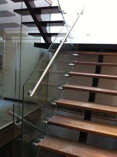Glass Stairway Railing from Muskoska Myles Glass and Design, Toronto.