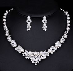 Cheap pearl bridal jewelry, Buy Quality wedding jewelry directly from China crystal necklace earrings set Suppliers: Mecresh Elegant Simulated Pearl Bridal Jewelry Sets Silver Color Leaf Crystal Necklaces Earrings Sets Wedding Jewelry Pearl Bridal Jewelry Sets, Wedding Jewelry Sets, Bridal Necklace, Crystal Necklace, Bridal Jewellery, Crystal Jewelry, Necklace Set, Leaf Jewelry, Diamond Jewelry