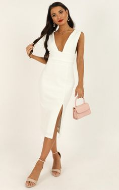 Complete your look with the Dont Catch Feelings Dress In White from Showpo! Buy now, wear tomorrow with easy returns available. Shower Dress For Bride, Shower Dresses, Chic Outfits, Dress Outfits, Summer Outfits, Boohoo Outfits, Rehearsal Dinner Outfits, Catch Feelings, Trumpet Dress