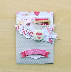 Note 2 self : make the heart banner in a solid color to make it pop...love the grey with all the pinks