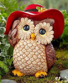 Whimsical Owl Garden Statue: Add a cute touch to your outdoor decor with this Whimsical Owl Garden Statue. It features a cute critter dressed up in an oversized piece of clothing. Can also be displayed indoors. Ladybug Garden, Garden Owl, Garden Animals, Graffiti Kunst, Whimsical Owl, Whimsical Dress, Lakeside Collection, Owl Pictures, Owl Always Love You