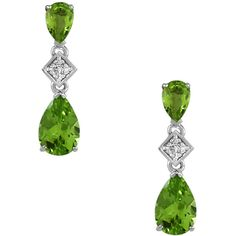 Peridot and Diamond Dangle Earrings in Sterling Silver ($175) ❤ liked on Polyvore featuring jewelry, earrings, green, diamond accent earrings, sterling silver peridot earrings, dangle diamond earrings, sterling silver jewelry and diamond jewelry