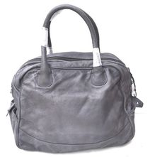 DIESEL LEATHER GRAY TOTE HANDBAG CARRY ON TRAVEL LUGGAGE