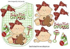 Baby Girls 1st christmas with her bottle on a bib on Craftsuprint - Add To Basket!